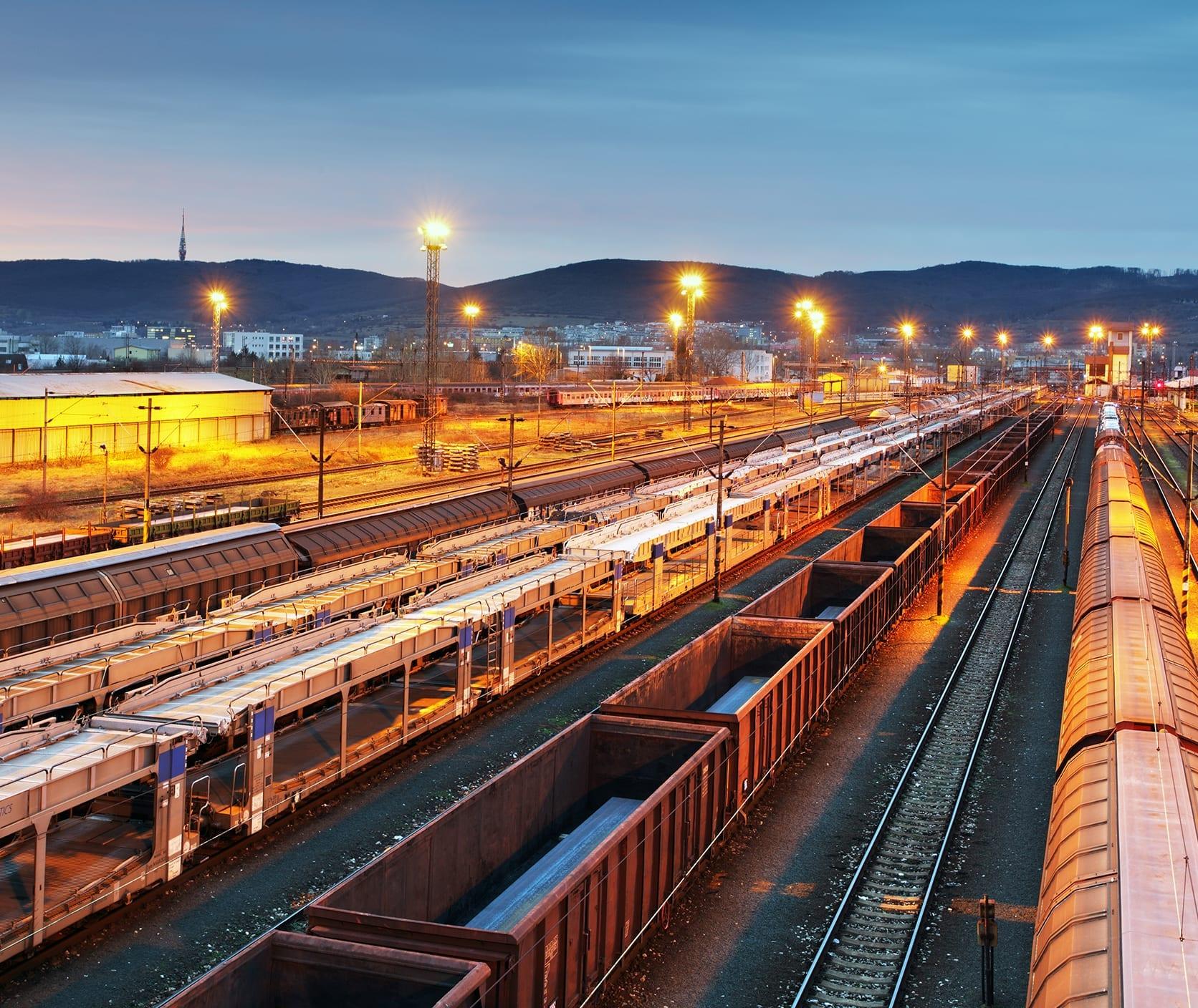 rail cars in a train yard
