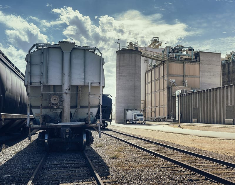 railroad car on sunny day at industrial plant